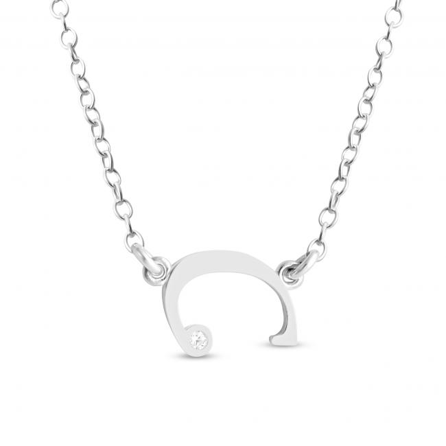 925 sterling silver necklace Initial Script Letter C with CZ Sideways