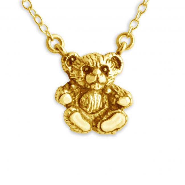 Gold plated necklace 3D Teddy Bear Jump Ring Necklace