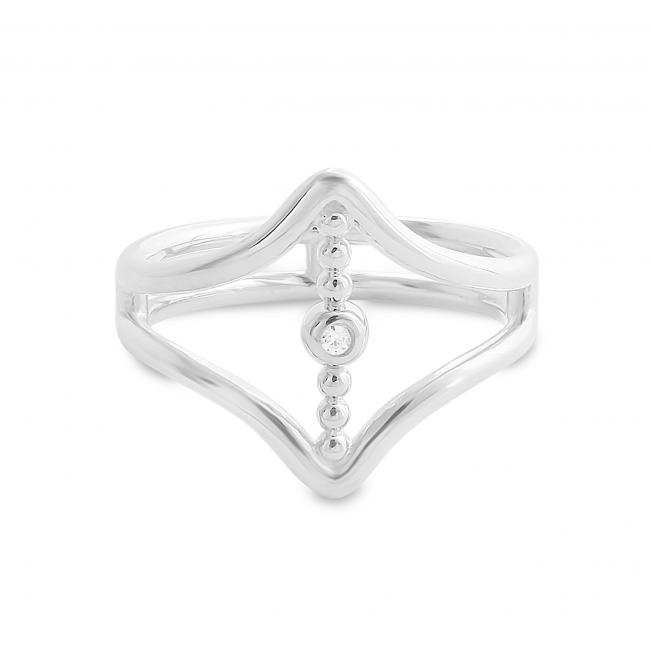 925 sterling silver ring Vertical CZ Bar between Double V Chevron Plain Double Band Ring