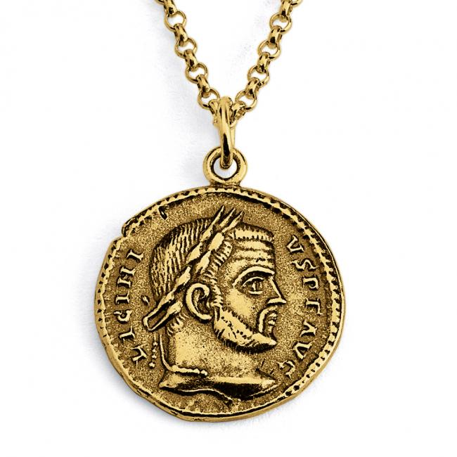 Gold plated necklace Replica Licinius I Roman Emperor Ancient COIN