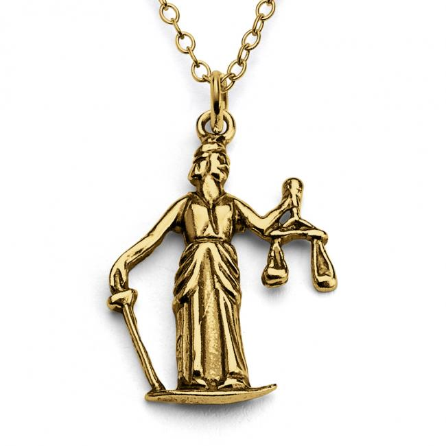 Gold plated necklace Lady Justice Roman Goddess
