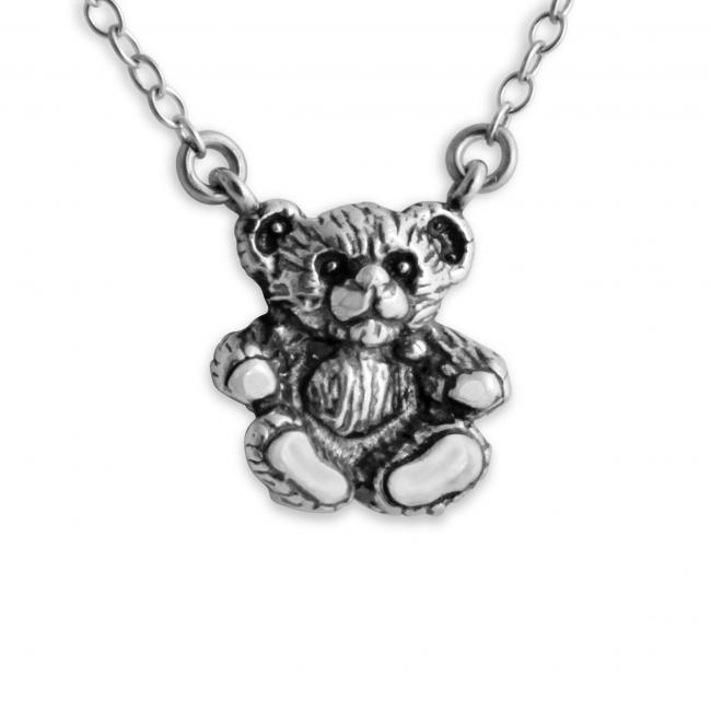 925 sterling silver necklace 3D Teddy Bear Jump Ring Necklace