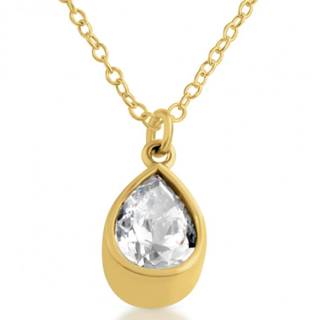 Gold plated necklace Cubic Zirconia Tear Drop