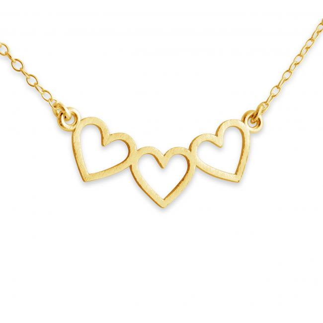 Gold plated necklace 3 Open Hearts