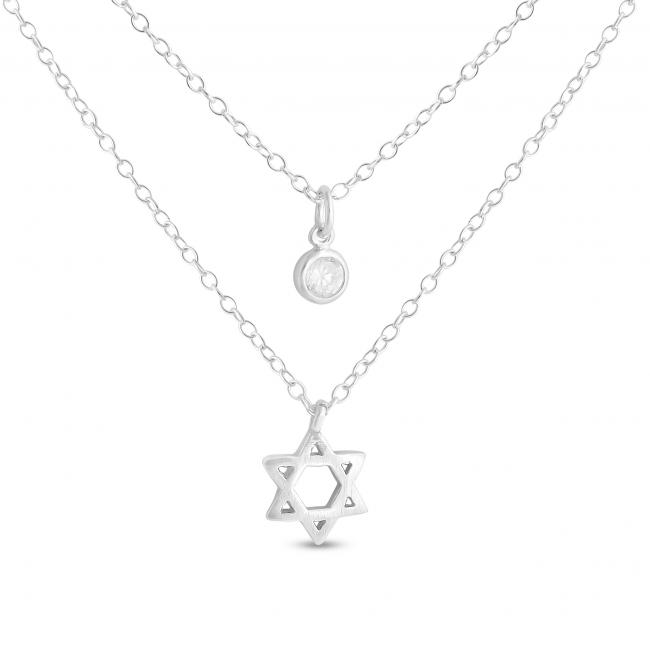 925 sterling silver necklace Star of David and CZ w/ Double Chain