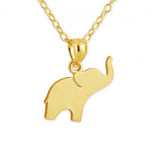 Gold plated necklace Elephant (Silhouette)