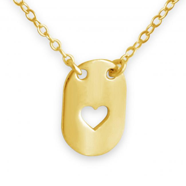 Gold plated necklace Heart Dog Tag