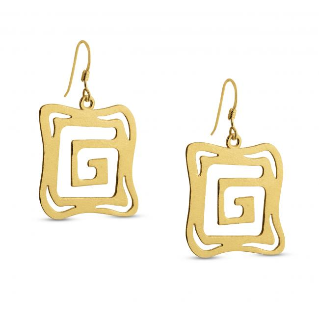 Gold plated earrings Outline Square G Textured Square Shape