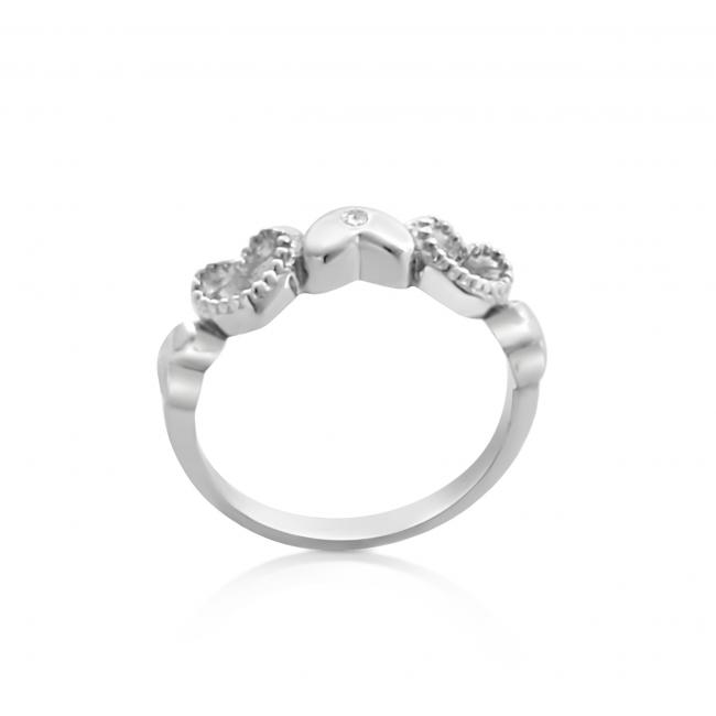 925 sterling silver ring 2mm (0.03 ct. tw) Diamond Five Hearts Love Forever