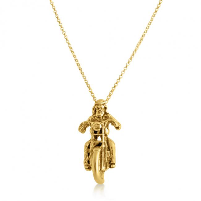 Gold plated necklace Motorcycle Cruiser Ride Bike Harley Chopper Pendant