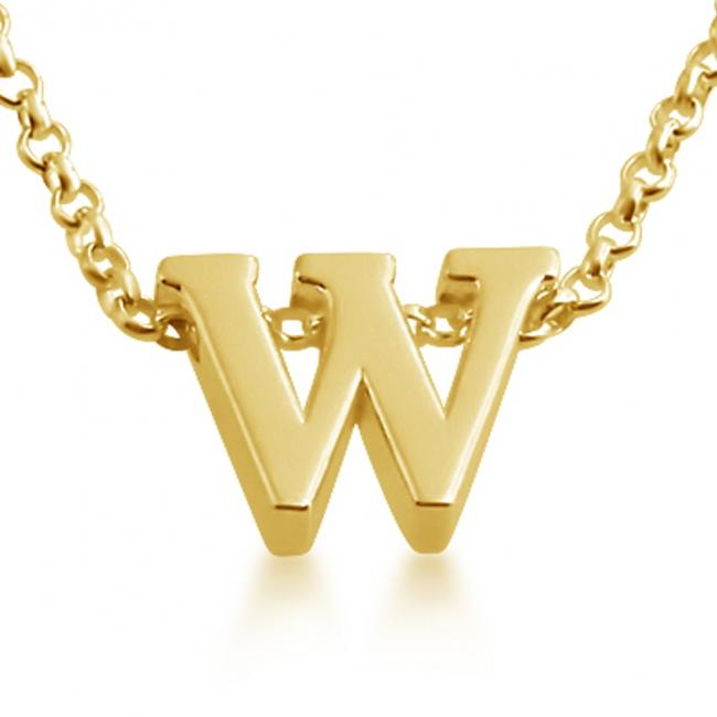 Gold plated necklace Initial Letter W Personalized Symbols & Letters Serif Font
