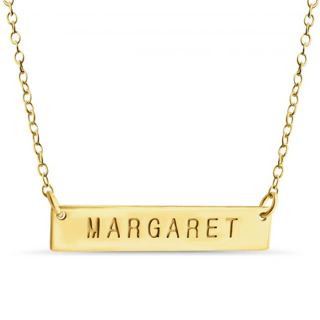 Gold plated necklace Name Bar Margaret