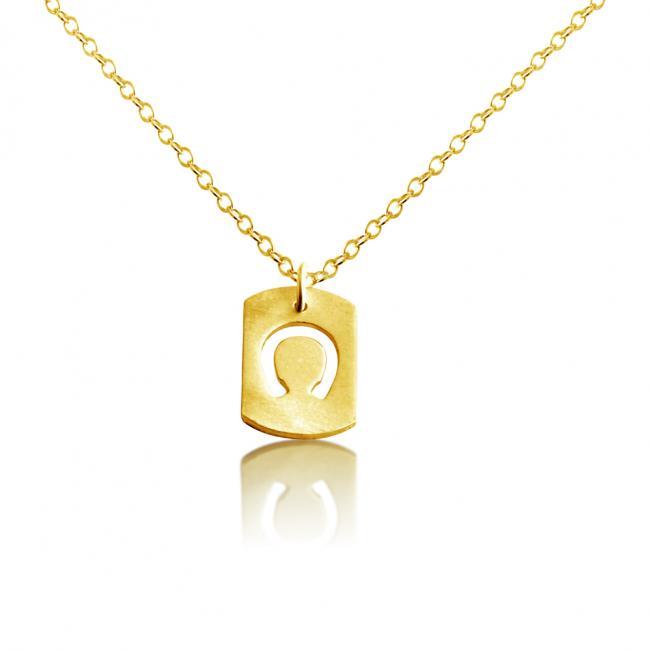 Gold plated necklace Horseshoe Dog Tag