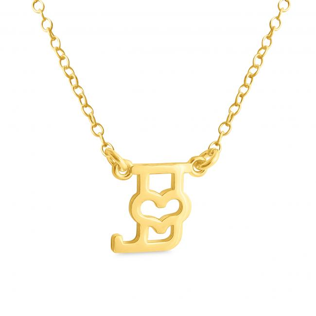 Gold plated necklace Initial Letter J with Heart Sideways