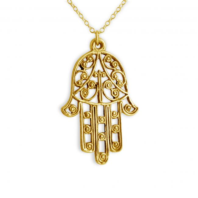 Gold plated necklace Filigree Hamsa Hand of Fatima Sideways Amulet