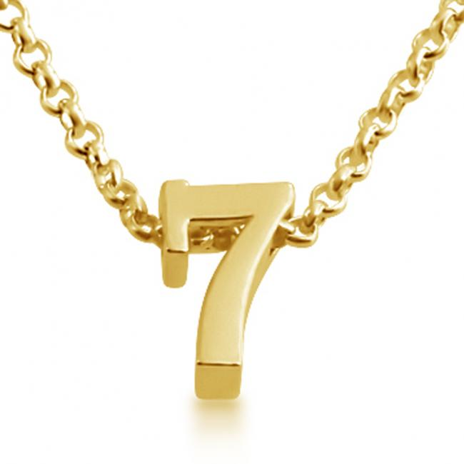 Gold plated necklace Initial Letter 7 Personalized Symbols & Letters Serif Font