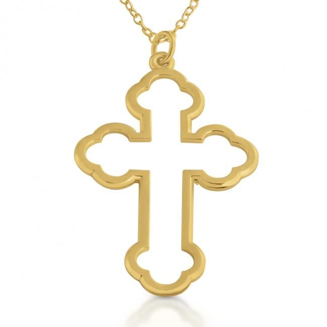 Gold plated necklace Open Apostles' Cross