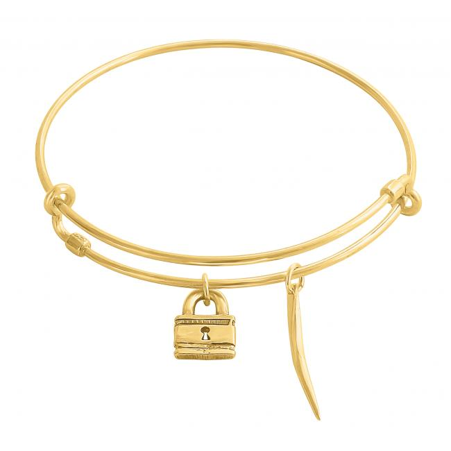 Gold plated bracelet Padlock Adjustable Wire Bangle