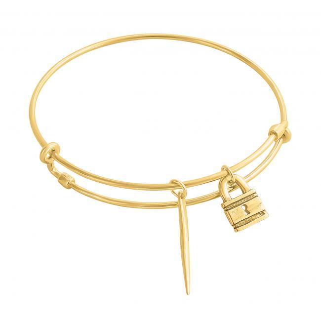 Gold plated bracelet Padlock Adjustable Wire Bangle