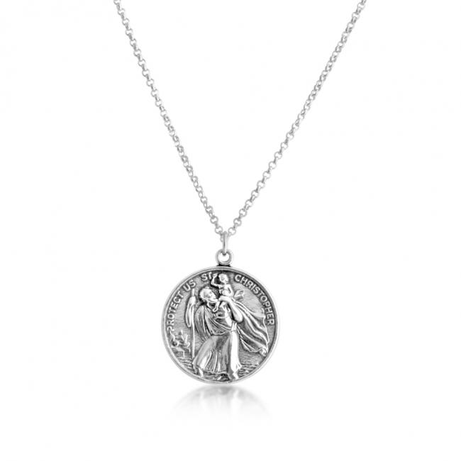 925 sterling silver necklace St. Christopher Protector of Travelers Medallion