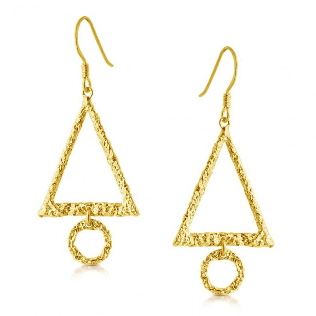 Gold plated earrings Textured Triangle