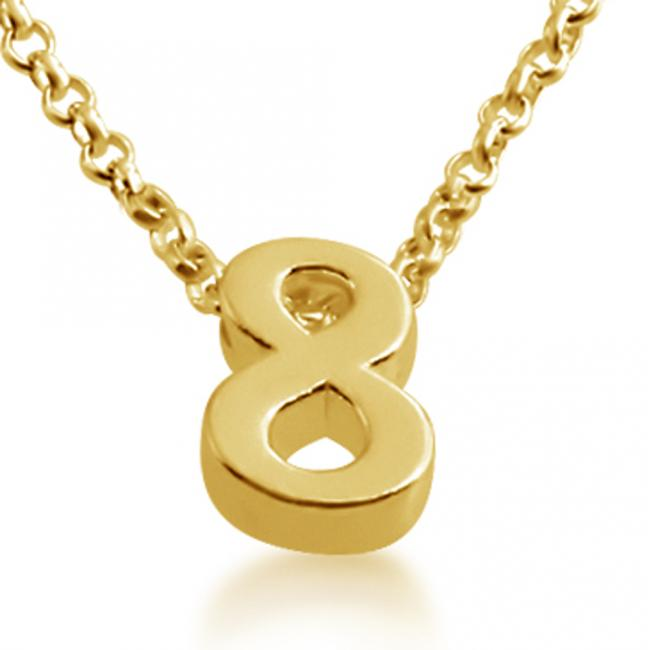 Gold plated necklace Initial Letter 8 Personalized Symbols & Letters Serif Font