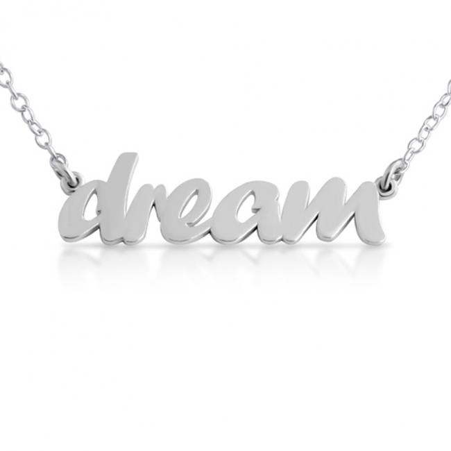 925 sterling silver necklace DREAM (Script Word)