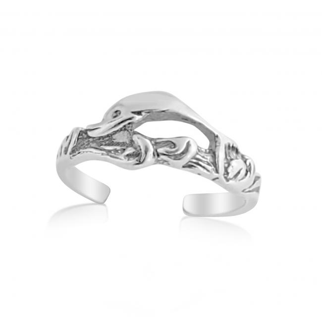 925 sterling silver ring Jumping Dolphins Adjustable Toe Ring