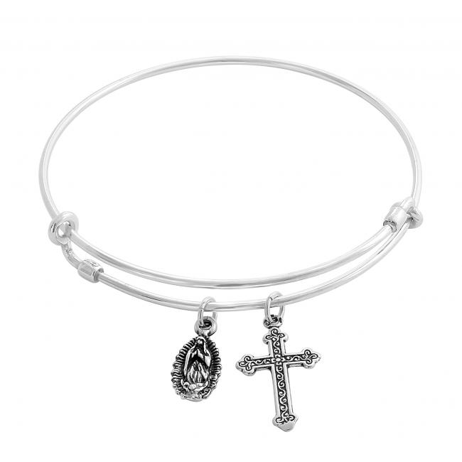925 sterling silver bracelet Our Lady of Guadalupe Adjustable Wire Bangle