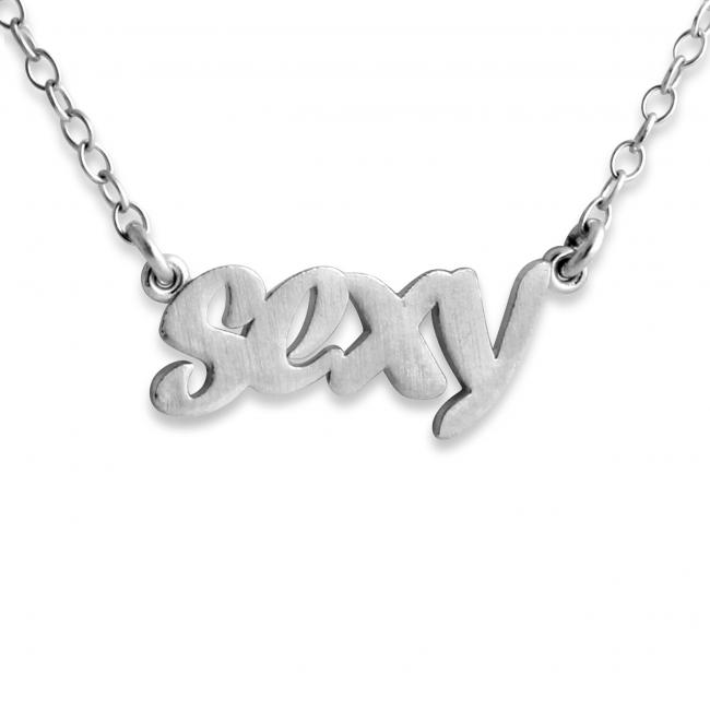 925 sterling silver necklace SEXY (Script Word)