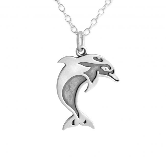 925 sterling silver necklace 2-Toned Swimming Dolphin