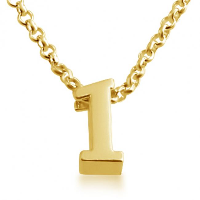 Gold plated necklace Initial Letter 1 Personalized Symbols & Letters Serif Font