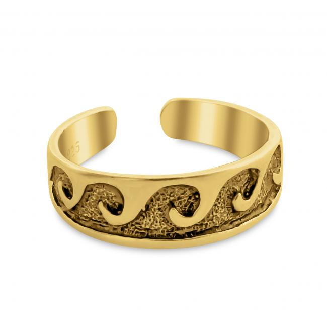 Gold plated ring Waves Adjustable Toe Ring