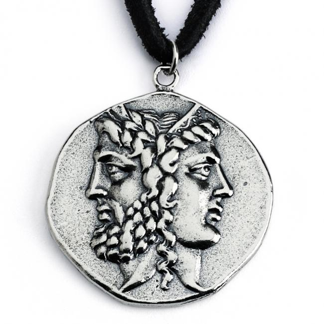925 sterling silver necklace Replica Zeus and Hera Janiform Greek God and Goddess Ancient COIN