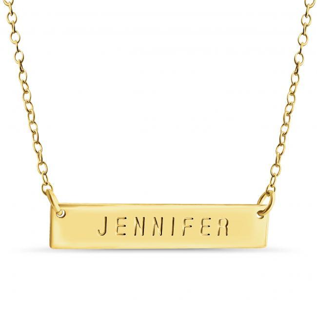 Gold plated necklace Name Bar Jennifer