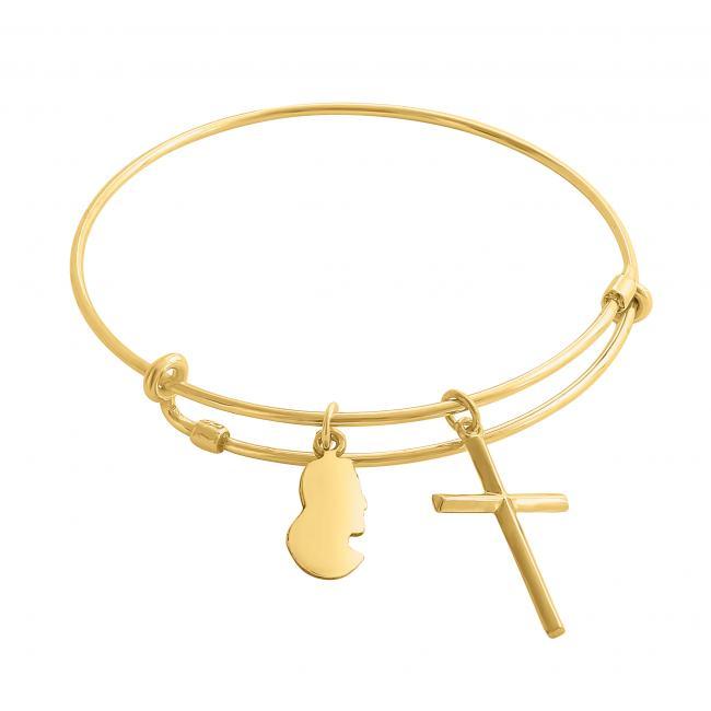 Gold plated bracelet Jesus Christ Adjustable Wire Bangle