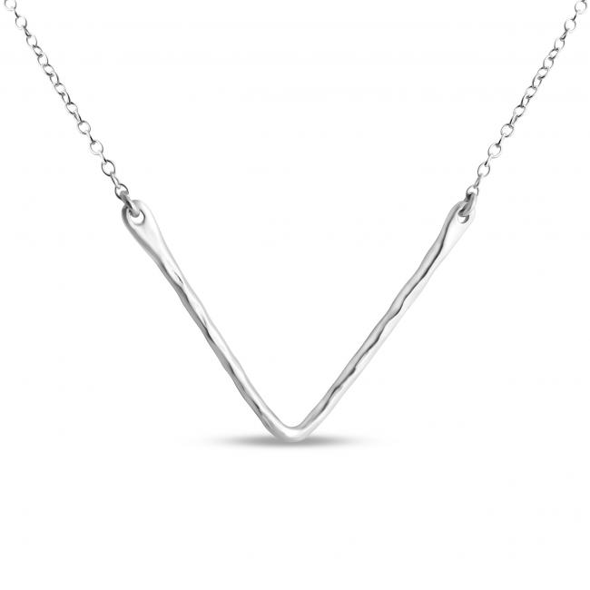 925 sterling silver necklace Hammered V Sideways