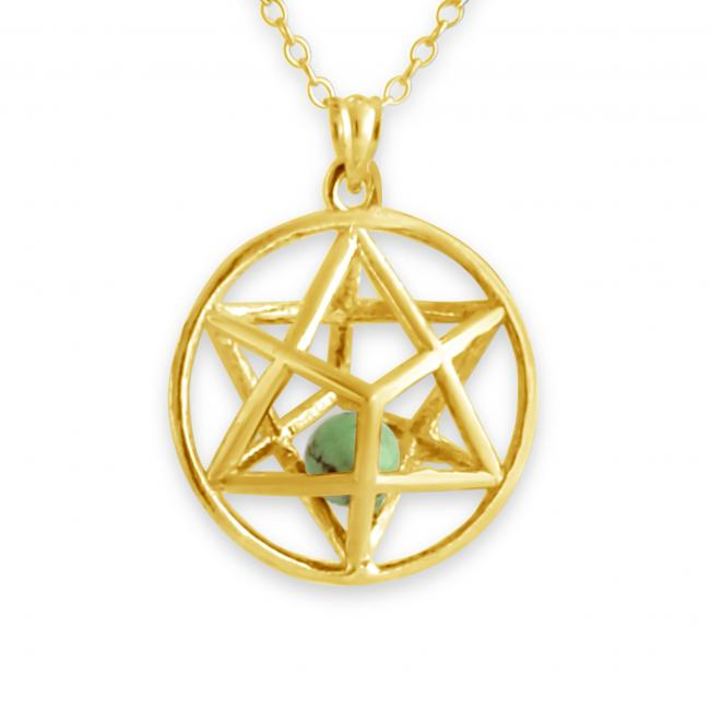 Gold plated necklace 3D Star of David w/ Synthetic Jasmine Bead