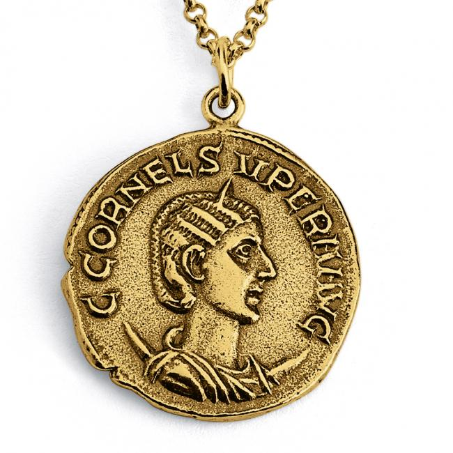 Gold plated necklace Replica Cornelia Supera Empress of Rome Ancient COIN