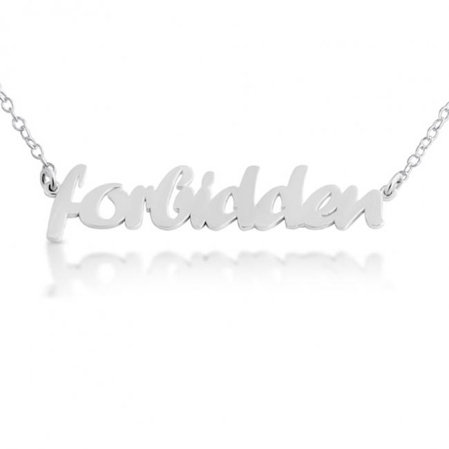 925 sterling silver necklace FORBIDDEN (Script Word)