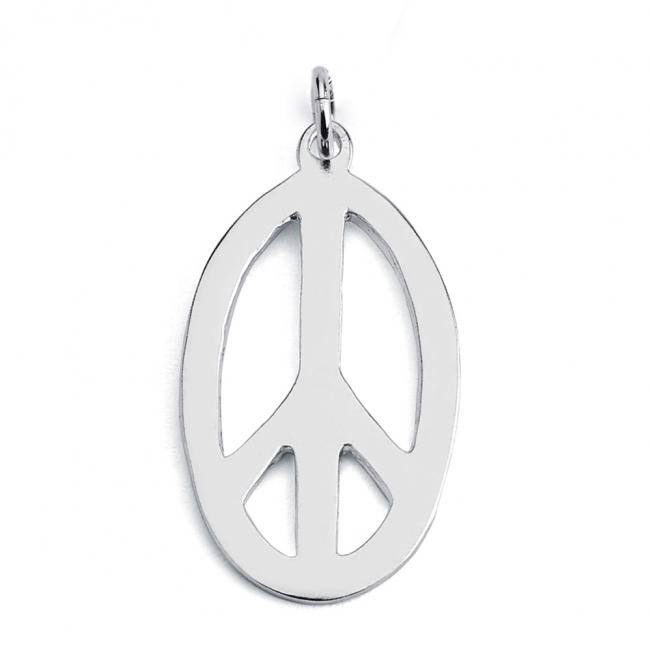 925 sterling silver necklace Oval Peace Sign Hippie Symbol
