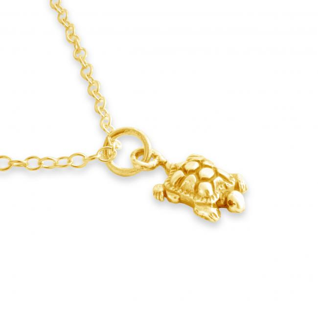 Gold plated necklace Baby Turtle Tortoise Reptile
