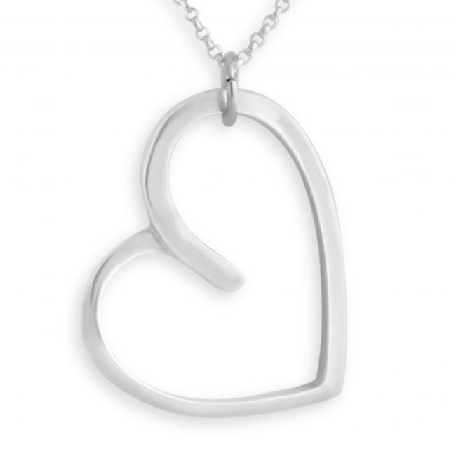 925 sterling silver necklace Large Open Heart