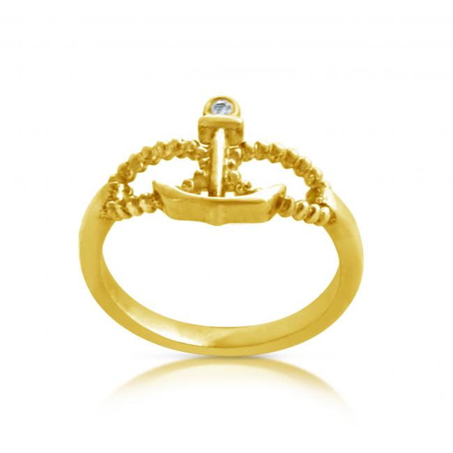 Gold plated ring 2mm (0.03 ct. tw) Diamond Infinity & Anchor