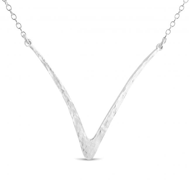 925 sterling silver necklace Hammered Curved V Sideways