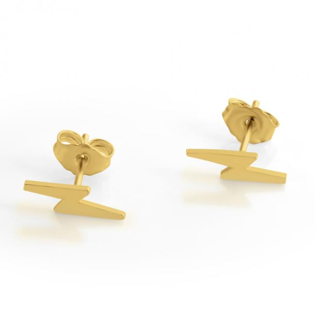 Gold plated earrings Thunder Bolt