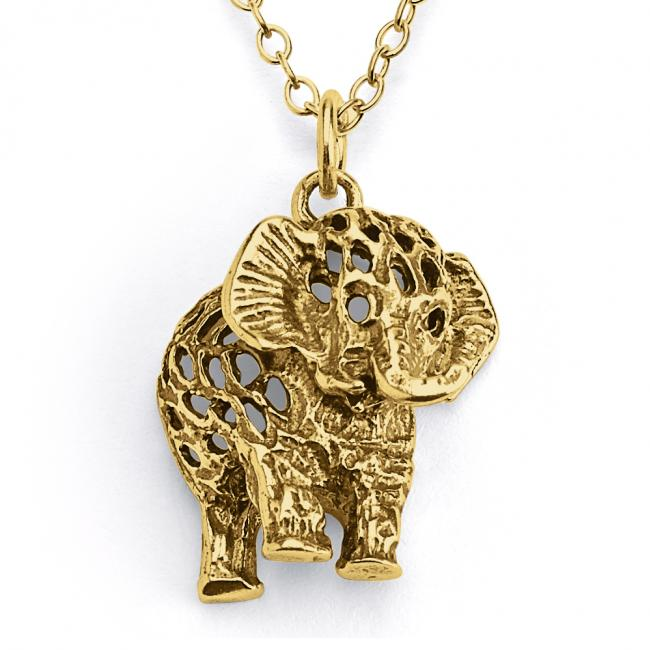 Gold plated necklace Filigree Elephant