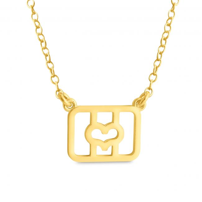 Gold plated necklace Initial Letter O with Heart Sideways