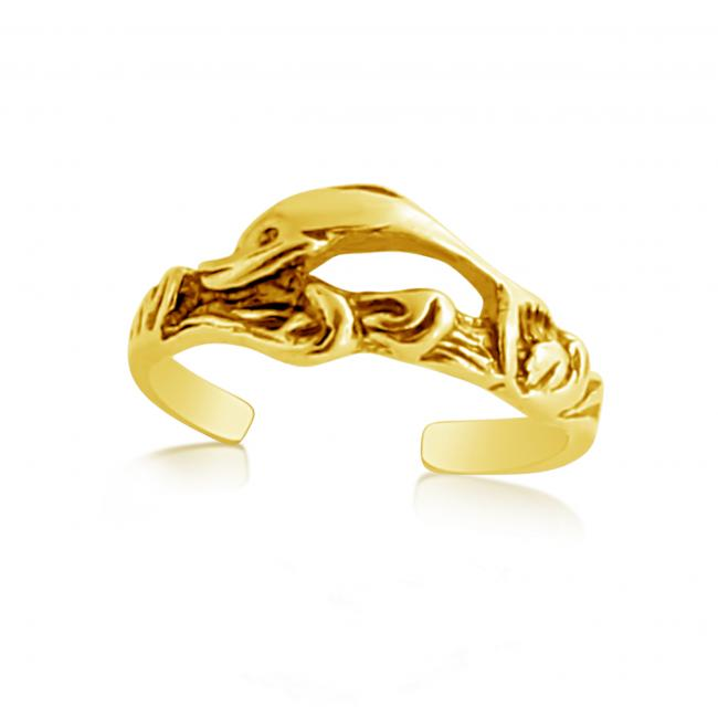 Gold plated ring Jumping Dolphins Adjustable Toe Ring