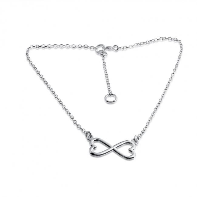 925 sterling silver anklet Infinity Twin Hearts Love Charm Pendant